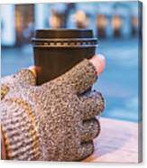 Gloved Hands Holding Coffee Cup Canvas Print