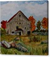 Glover Barn In Autumn Canvas Print