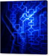 Glowing Blue Flowchart Canvas Print
