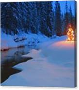 Glowing Christmas Tree By Mountain Canvas Print