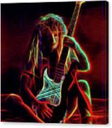 Glowing Guitar Girl Canvas Print