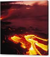 Glowing Lava Flow Canvas Print
