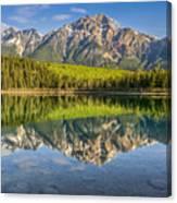 Glowing Morning At Pyramid Mountain Jasper Alberta Canvas Print