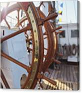 Steering Wheel Of Big Sailing Ship Canvas Print