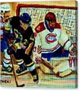 Goalie  And Hockey Art Canvas Print