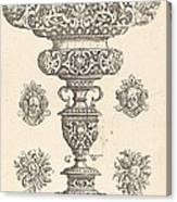 Goblet, Rim Decorated With Masque And Bouquet Of Fruit Canvas Print
