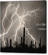 God Bless America Bw Lightning Storm In The Usa Desert Canvas Print