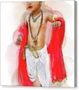 God Krishna Style Watercolor Canvas Print