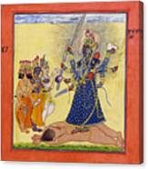 Goddess Bhadrakali Worshipped By The Gods. From A Tantric Devi Series Canvas Print