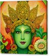 Goddess Green Tara's Face Canvas Print