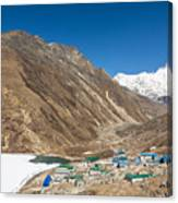 Gokyo Village And The Frozen Lake Canvas Print