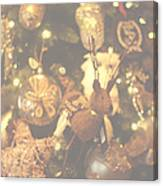 Gold Christmas Tree Decorations Canvas Print