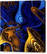 Gold On Blue Canvas Print