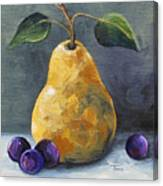 Gold Pear With Grapes II  Canvas Print