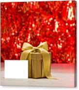 Gold Present With Place Card  Canvas Print