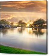 Gold Sunset At The Lake Canvas Print