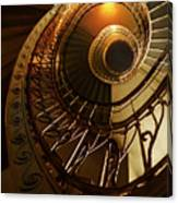 Golden And Brown Spiral Stairs Canvas Print