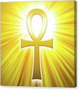 Golden Ankh With Sunbeams Canvas Print