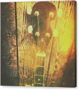 Golden Banjo Neck In Retro Folk Style Canvas Print