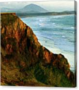 Golden Beach Cliff Side  Painterly Canvas Print