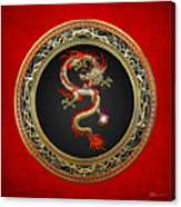 Golden Chinese Dragon Fucanglong On Red Leather  Canvas Print