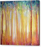 Golden Forest Hidden Unicorn - Large Original Oil Painting By Gill Bustamante Canvas Print