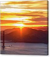 Golden Gate Bridge And San Francisco Bay At Sunset Canvas Print