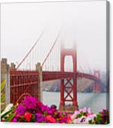 Golden Gate Bridge Flowers 2 Canvas Print