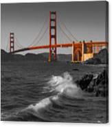 Golden Gate Bridge Sunset Study 1 Bw Canvas Print