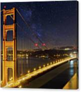 Golden Gate Bridge Under The Starry Night Sky Canvas Print