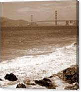 Golden Gate Bridge With Shore - Sepia Canvas Print