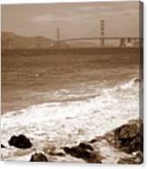 Golden Gate Bridge With Shore - Sepia Canvas Print