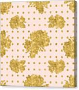 Golden Gold Blush Pink Floral Rose Cluster W Dot Bedding Home Decor Canvas Print