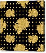 Golden Gold Floral Rose Cluster W Dot Bedding Home Decor Art Canvas Print