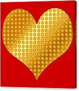 Golden Heart Red Canvas Print