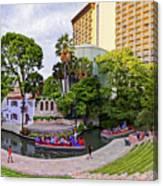 Golden Hour Shot Of Arneson River Theatre At La Villita San Antonio Riverwalk - Bexar County Texas Canvas Print