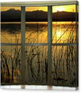 Golden Lake Bay Picture Window View Canvas Print