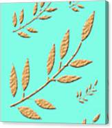 Golden Leaves On Aqua Canvas Print