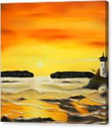 Golden Lighthouse Sunset Dreamy Mirage Canvas Print