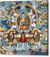 Golden Medicine Buddha Thangka Canvas Print