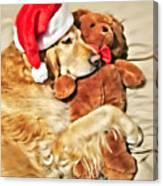 Golden Retriever Dog Christmas Teddy Bear Canvas Print