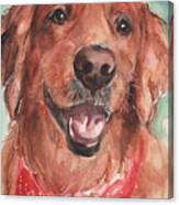 Golden Retriever Dog In Watercolori Canvas Print