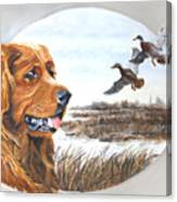 Golden Retriever With Marsh Scene Canvas Print