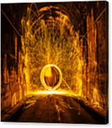 Golden Spinning Sphere Canvas Print