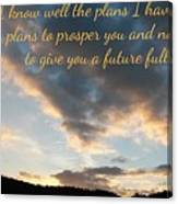 Golden Sunset With Verse Canvas Print