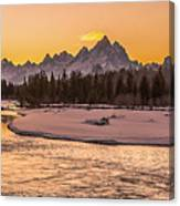 Golden Teton Sunset Canvas Print