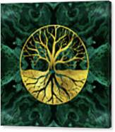 Golden Tree Of Life Yggdrasil On Malachite Canvas Print