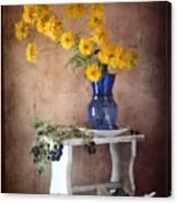 Goldenglow Flowers In Blue Vase Canvas Print
