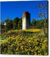 Goldenrod Surrounded Silo Canvas Print
