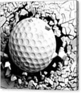 Golf Ball Breaking Forcibly Through A White Wall. 3d Illustration. Canvas Print